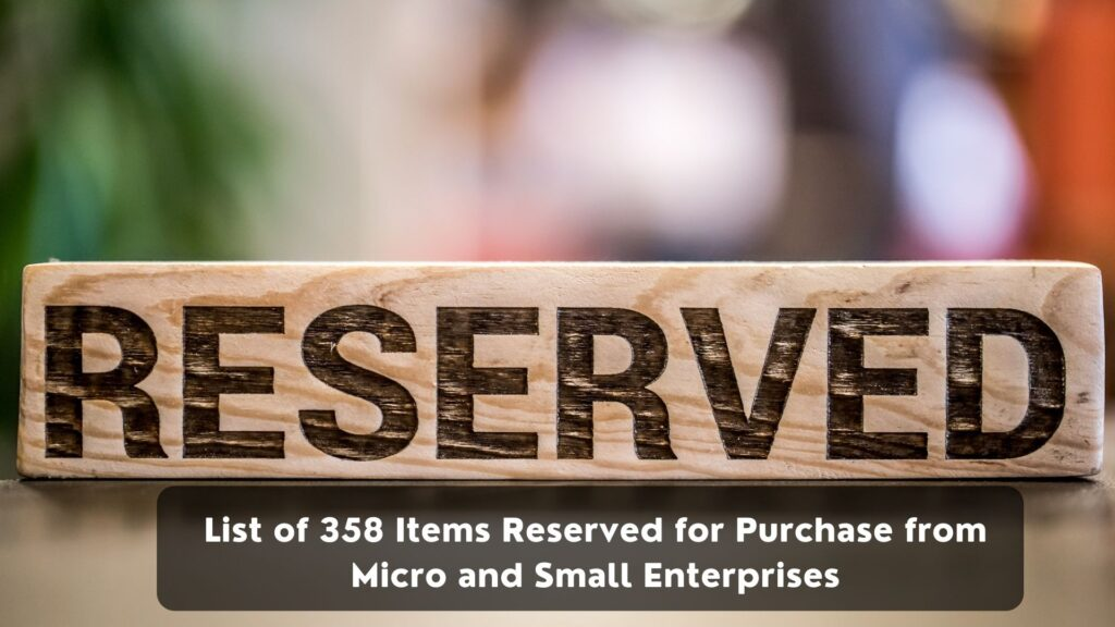 List of 358 Items Reserved for Purchase from Micro and Small Enterprises