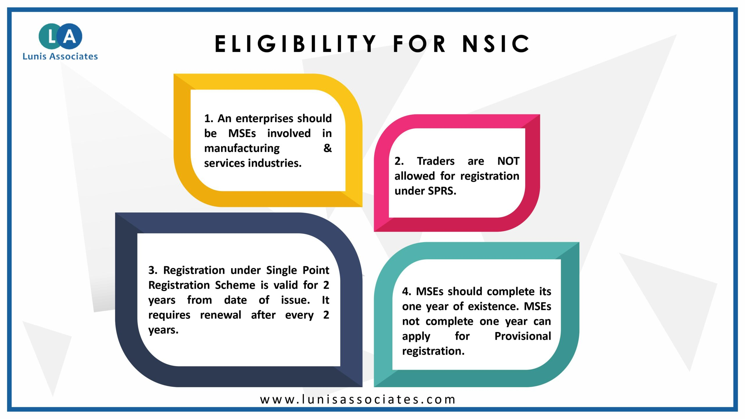 Eligibility For NSIC Registration